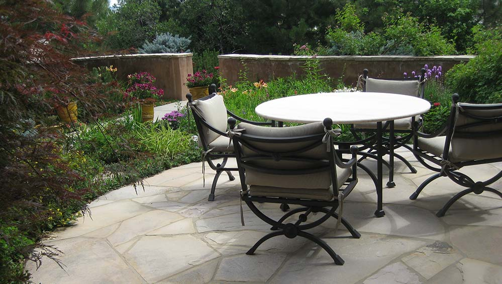 Outdoor patio with native colorado plants